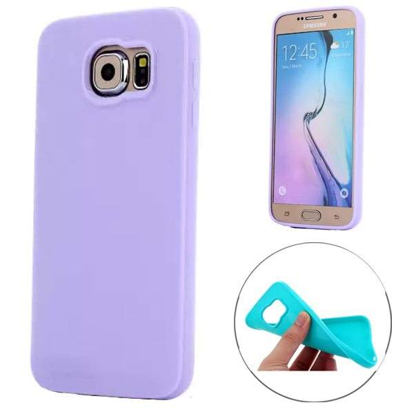 Fashion Style Solid Color Protection Soft TPU Case for Samsung Galaxy S6 Edge (Purple)