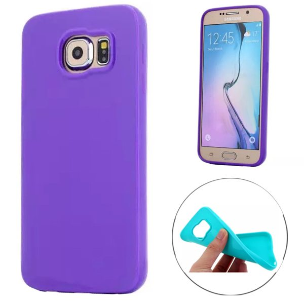 Fashion Style Solid Color Protection Soft TPU Case for Samsung Galaxy S6 Edge (Deep Purple)