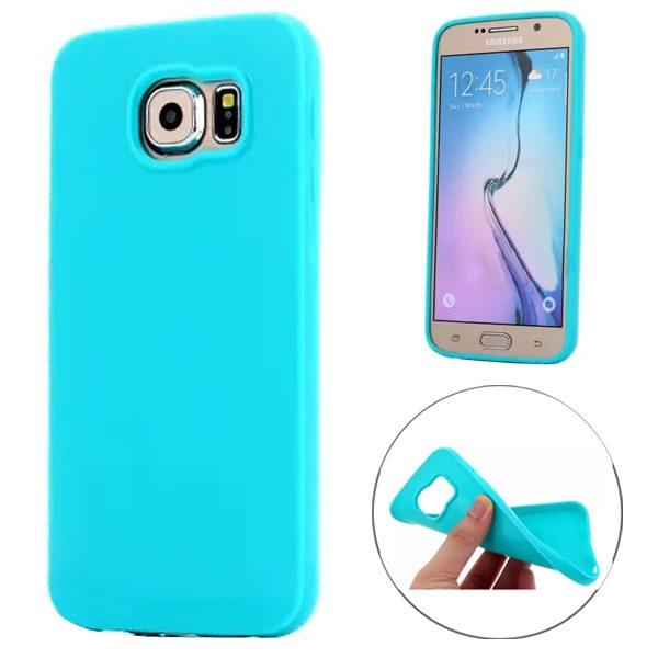 Fashion Style Solid Color Protection Soft TPU Case for Samsung Galaxy S6 Edge (Acid Blue)