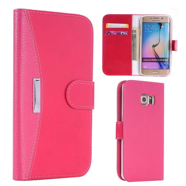 New Arrival Flip Stand Wallet Style Leather Card Slots Case for Samsung Galaxy S6 Edge (Rose)