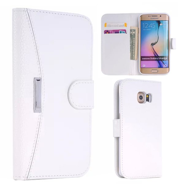 New Arrival Flip Stand Wallet Style Leather Card Slots Case for Samsung Galaxy S6 Edge (White)