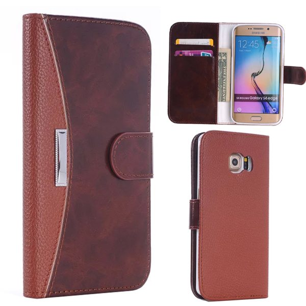 New Arrival Flip Stand Wallet Style Leather Card Slots Case for Samsung Galaxy S6 Edge (Brown)