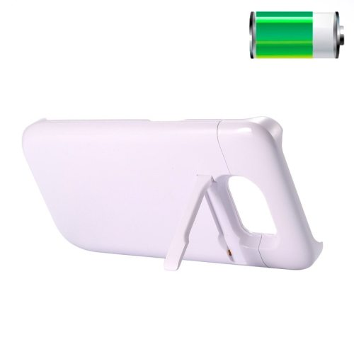 3200mAh Rechargeable Backup External Battery Case for Samsung GALAXY S6 Edge with Holder (White)