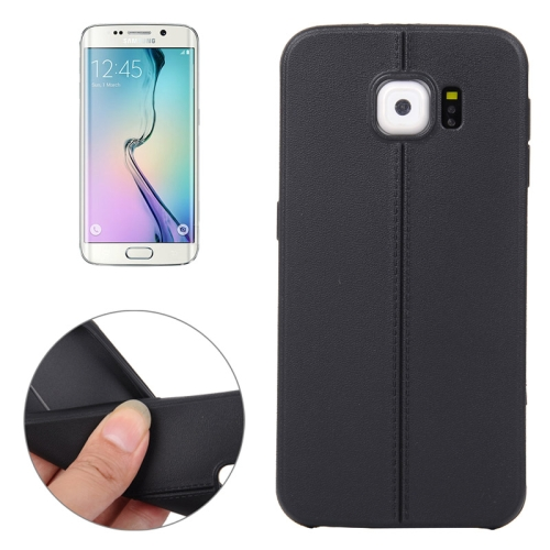 Leather Texture Protective TPU Case Cover for Samsung Galaxy S6 Edge (Black)