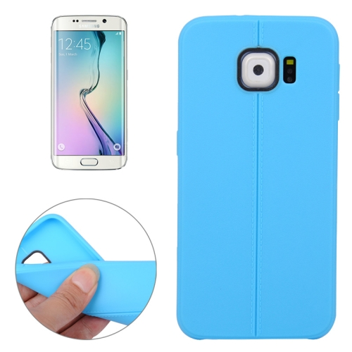 Leather Texture Protective TPU Case Cover for Samsung Galaxy S6 Edge (Blue)
