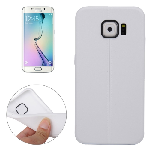 Leather Texture Protective TPU Case Cover for Samsung Galaxy S6 Edge (White)