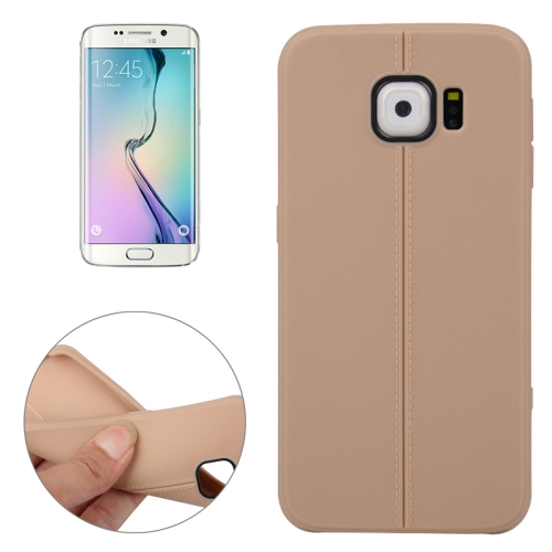 Leather Texture Protective TPU Case Cover for Samsung Galaxy S6 Edge (Brown)