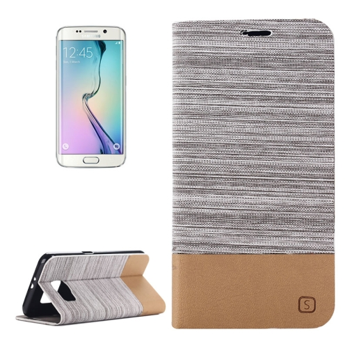 Canvas Leather Wallet Flip Stand Case for Samsung Galaxy S6 Edge with Card Slot & Stand (Grey)