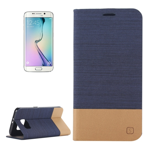 Canvas Leather Wallet Flip Stand Case for Samsung Galaxy S6 Edge with Card Slot & Stand (Dark Blue)