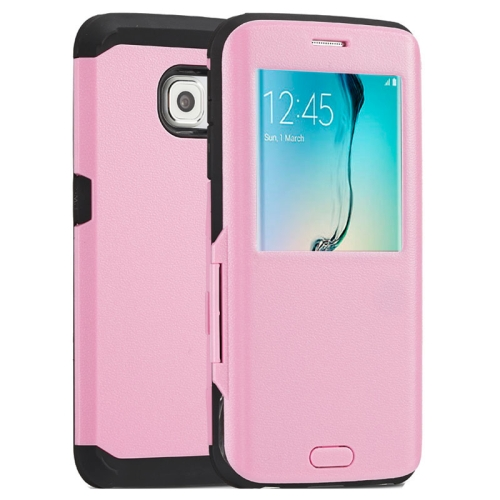 Litchi Texture Flip TPU Case for Samsung Galaxy S6 Edge with Caller ID Display Window (Pink)