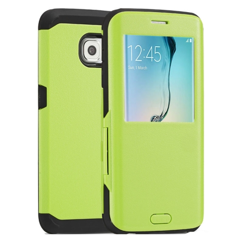 Litchi Texture Flip TPU Case for Samsung Galaxy S6 Edge with Caller ID Display Window (Green)