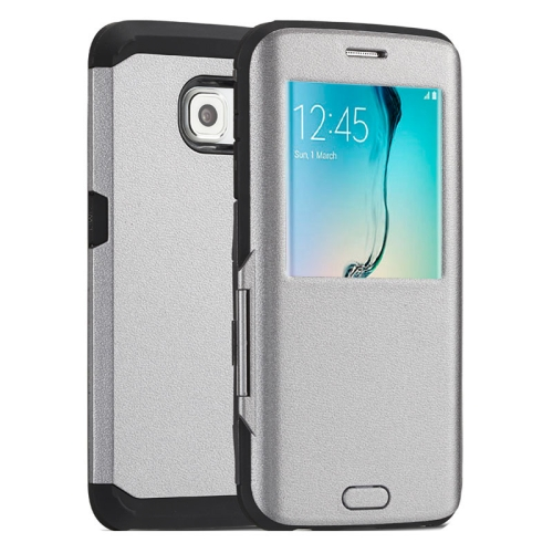 Litchi Texture Flip TPU Case for Samsung Galaxy S6 Edge with Caller ID Display Window (Grey)