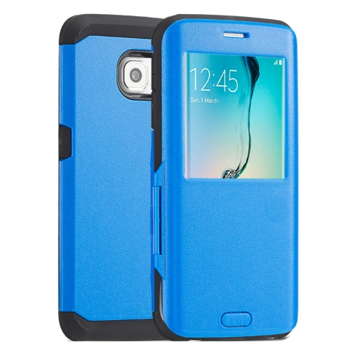 Litchi Texture Flip TPU Case for Samsung Galaxy S6 Edge with Caller ID Display Window (Blue)
