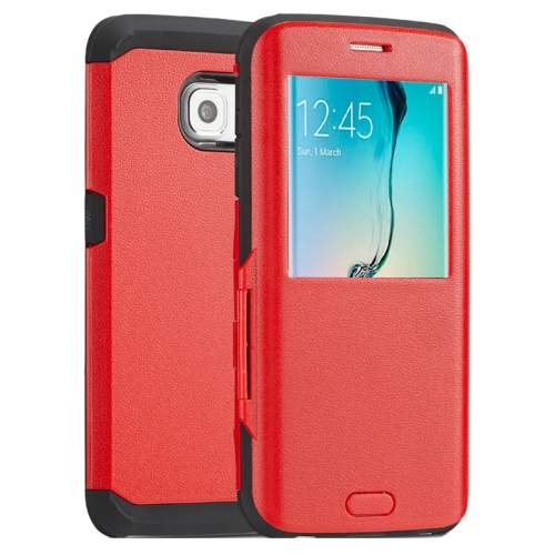 Litchi Texture Flip TPU Case for Samsung Galaxy S6 Edge with Caller ID Display Window (Red)