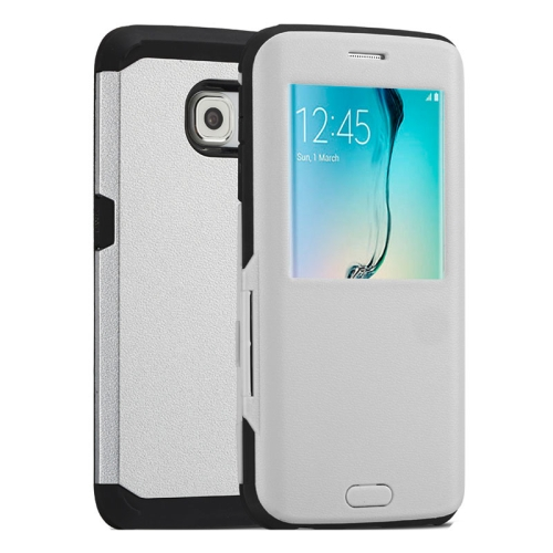Litchi Texture Flip TPU Case for Samsung Galaxy S6 Edge with Caller ID Display Window (Silver)