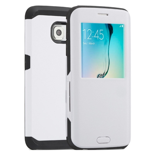 Litchi Texture Flip TPU Case for Samsung Galaxy S6 Edge with Caller ID Display Window (White)