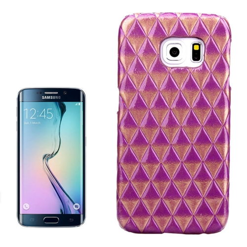 Hot Sales Diamond Pattern Protective Hard Case Cover for Samsung Galaxy S6 Edge (Purple)