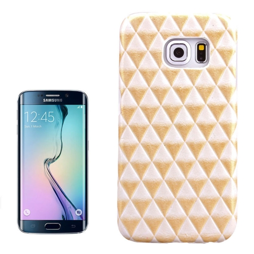 Hot Sales Diamond Pattern Protective Hard Case Cover for Samsung Galaxy S6 Edge (Golden)