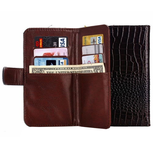 Crocodile Texture 5.5 Inch Universal Leather Case for Samsung Galaxy S6 Edge, for iPhone 6 Plus etc with Card Slots and Lanyard (Brown)