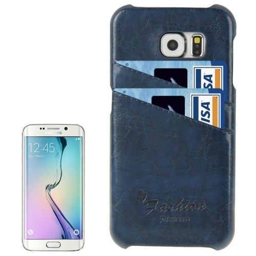 Deluxe Retro PU Leather Cover Case for Samsung Galaxy S6 Edge with Card Slots and Fashion Logo (Dark Blue)