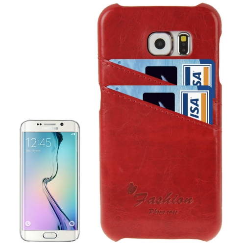 Deluxe Retro PU Leather Cover Case for Samsung Galaxy S6 Edge with Card Slots and Fashion Logo (Red)