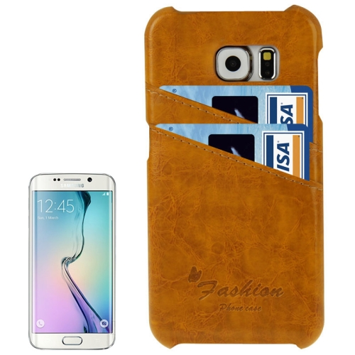 Deluxe Retro PU Leather Cover Case for Samsung Galaxy S6 Edge with Card Slots and Fashion Logo (Light Brown)
