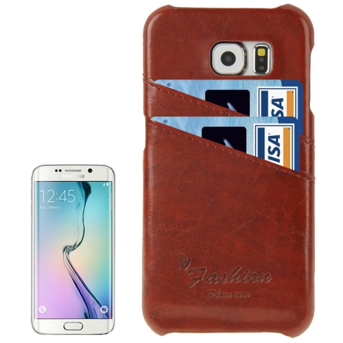 Deluxe Retro PU Leather Cover Case for Samsung Galaxy S6 Edge with Card Slots and Fashion Logo (Dark Brown)
