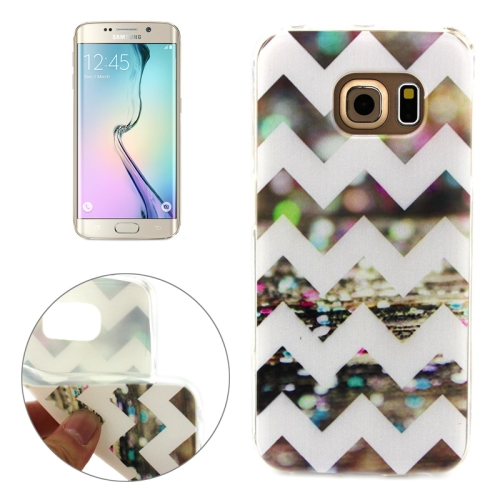 Soft TPU Protective Case for Samsung Galaxy S6 Edge (Sparkle Stripes Pattern)