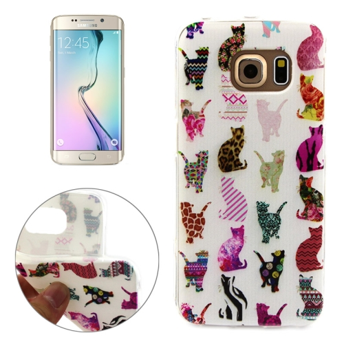 Soft TPU Protective Case for Samsung Galaxy S6 Edge (Colorful Cat Pattern)