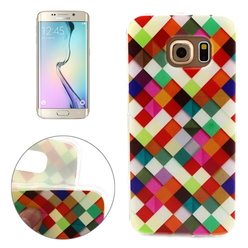 Soft TPU Protective Case for Samsung Galaxy S6 Edge (Colorful Grid Pattern)