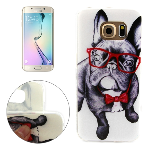 Soft TPU Protective Case for Samsung Galaxy S6 Edge (Bulldog Pattern)