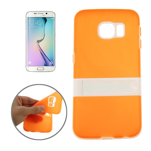 Solid Color Clear TPU Protective Case for Samsung Galaxy S6 Edge (Orange)