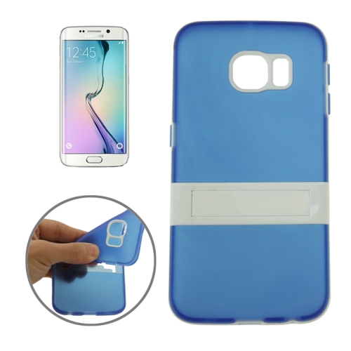 Solid Color Clear TPU Protective Case for Samsung Galaxy S6 Edge (Blue)