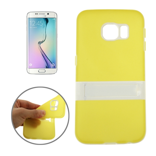 Solid Color Clear TPU Protective Case for Samsung Galaxy S6 Edge (Yellow)
