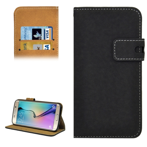 Angibabe Horizontal Flip Leather Case for Samsung Galaxy S6 Edge (Black)