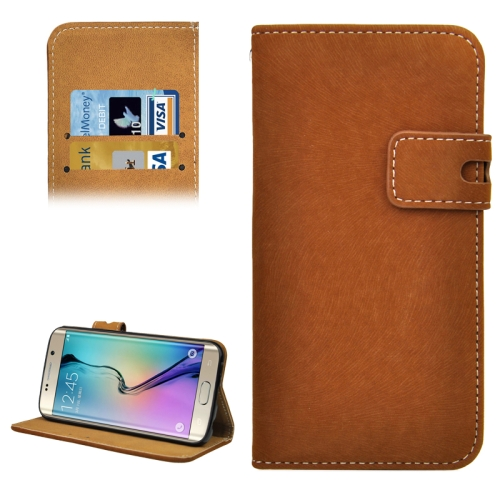 Angibabe Horizontal Flip Leather Case for Samsung Galaxy S6 Edge (Brown)