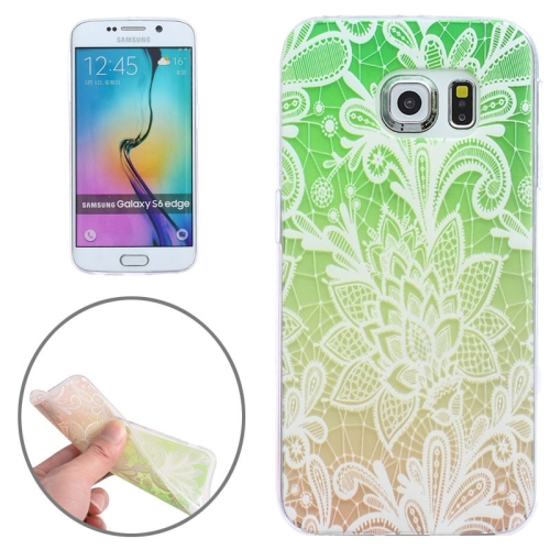 Ultrathin Carved Flower Pattern Protective Clear Frame TPU Case for Samsung Galaxy S6 Edge (Green)