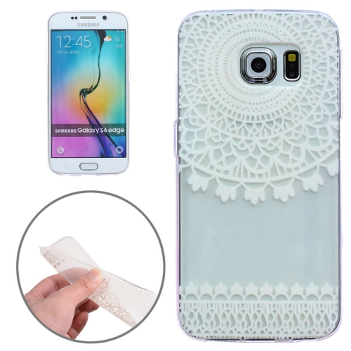 Ultrathin Carved Flower Pattern Protective Clear Frame TPU Case for Samsung Galaxy S6 Edge (White Two)