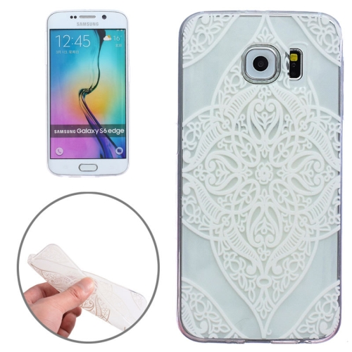 Ultrathin Carved Flower Pattern Protective Clear Frame TPU Case for Samsung Galaxy S6 Edge (White Four)