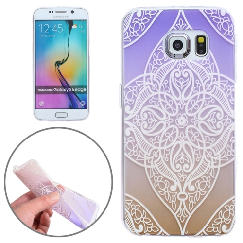Ultrathin Carved Flower Pattern Protective Clear Frame TPU Case for Samsung Galaxy S6 Edge (Purple)
