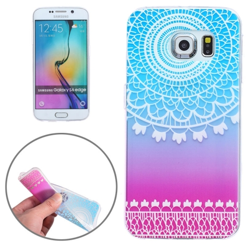 Ultrathin Carved Flower Pattern Protective Clear Frame TPU Case for Samsung Galaxy S6 Edge (Blue+Rose)