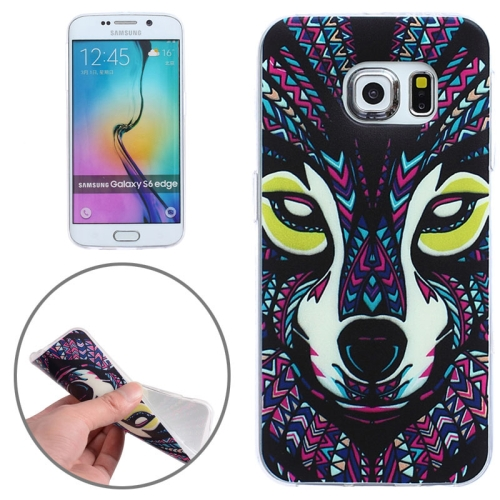 Creative Designs Ultrathin Transparent Frame Protective TPU Case for Samsung Galaxy S6 Edge (Wolf Pattern)