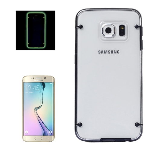 Hard Plastic Back Case for Samsung Galaxy S6 Edge with Luminous TPU Frame (Black)