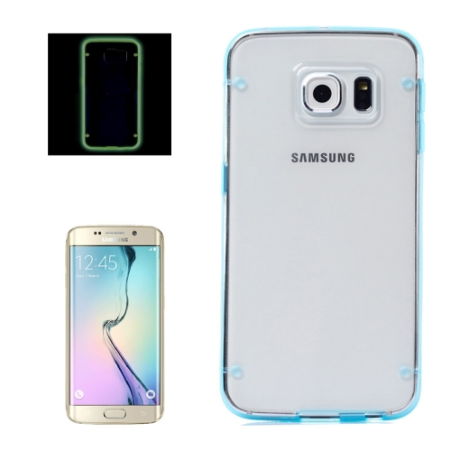 Hard Plastic Back Case for Samsung Galaxy S6 Edge with Luminous TPU Frame (Blue)