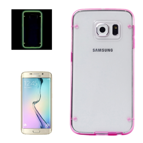 Hard Plastic Back Case for Samsung Galaxy S6 Edge with Luminous TPU Frame (Rose)