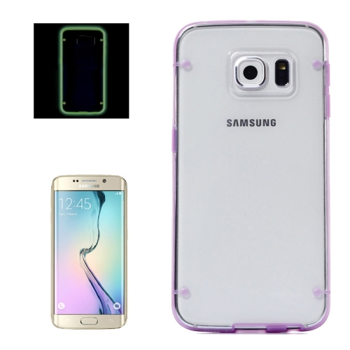 Hard Plastic Back Case for Samsung Galaxy S6 Edge with Luminous TPU Frame (Purple)