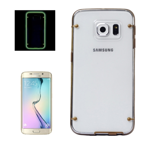 Hard Plastic Back Case for Samsung Galaxy S6 Edge with Luminous TPU Frame (Brown)