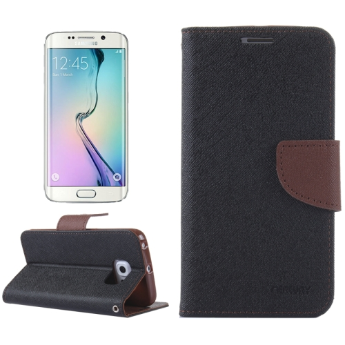 MERCURY Cross Texture Flip Leather Wallet Case for Samsung Galaxy S6 Edge with Card Slots & Stand (Black)
