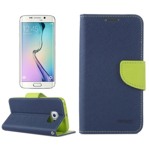 MERCURY Cross Texture Flip Leather Wallet Case for Samsung Galaxy S6 Edge with Card Slots & Stand (Dark Blue)