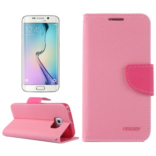 MERCURY Cross Texture Flip Leather Wallet Case for Samsung Galaxy S6 Edge with Card Slots & Stand (Pink)